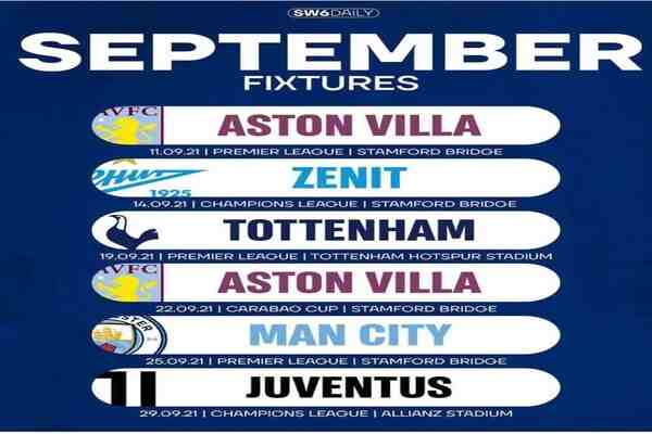 Check out Chelsea's Next six fixtures in the UCL & EPL this September